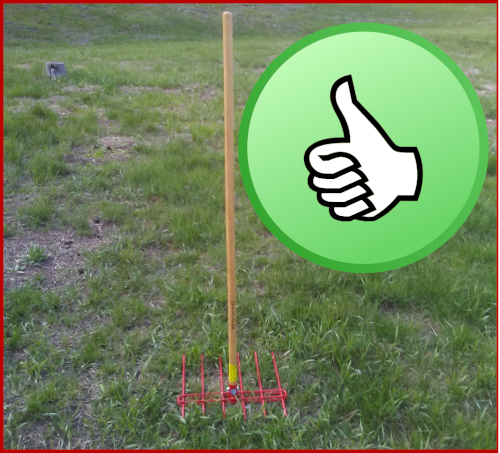 the Mitagator fire mitigation tool stands on the tine base